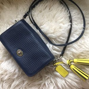 Coach navy leather cross body purse